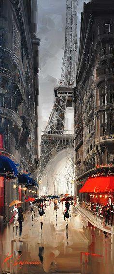 """Kal Gajoum ~ Les parapluies d'Amour II   ~ 70""""x30"""""""