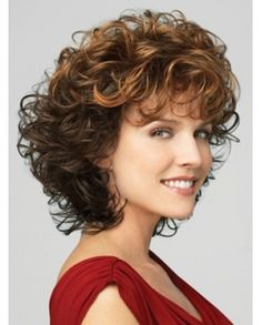 Fluffy Dark Copper Layered Curly Synthetic Wig