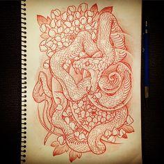 29022016 #draweveryday #snake #蛇 #chrysanthemum #菊 #rough #sketch #drawing #design #pencil #tattoo #tattoos #irezumi #刺青 #wabori #和彫 #strictlytattoostudio #prahran #melbourne #melbournetattoo #australia #strictlytattoogallery #vancouver #canada #horiryutattoofamily #japan #japanese #japaneseart #japanesetattoo #japanesetattooist