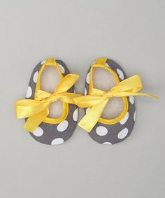 Look what I found on #zulily! Gray & Yellow Polka Dot Crib Shoes by Wholesale Princess #zulilyfinds