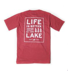 The ideal view on every lake. There's something undeniably peaceful about watching the sun set on a well worn dock. Lake Cabins, Lake Life, Great Lakes, American Made, Life Is Good, Sleeve, Mens Tops, Products, Manga