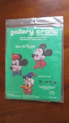 Mickey, Minnie & Donald Duck Jeweled Felt Ornaments Kit 8006 Gallery Crafts 1978 #GalleryCrafts