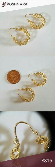 14K SOLID GOLD EARRINGS 14K SOLID Yellow Gold  NOT PLATED  NOT FILLED  Like NEW 3/4 inch diameter 1/4 inch wide Over 5 grams Jewelry Earrings