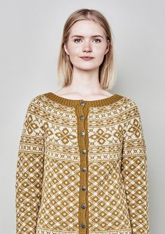 This design is available in different yarn weights by Sandnes and can be found by searching under Ryja. Knitting Stitches, Hand Knitting, Knitting Patterns, Crochet Patterns, Norwegian Knitting, Nordic Sweater, How To Start Knitting, Fair Isle Knitting, Cardigan Pattern
