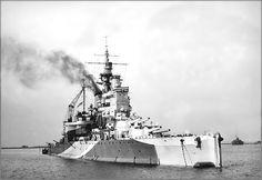 Vintage photographs of battleships, battlecruisers and cruisers.: Battleship HMS Valiant at anchor in 1943.