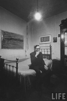William Burroughs in his room at the Beat Hotel, Life Magazine
