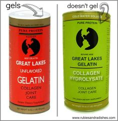great lakes gelatin. Red- gummies, foods green- protein powder, can take staight