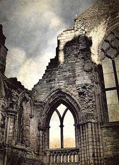 Ruins of Holyrood Abbey in Edinburgh, Scotland; builtin 1128...
