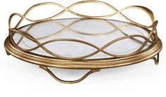 Tray JONATHAN CHARLES LUXE Contemporary Round Gold Leaf Borders Distress JC-2079