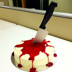 White chocolate cake with white chocolate buttercream and raspberry coulis as the 'blood'. White Chocolate Buttercream, White Chocolate Cake, Spirit Halloween, Halloween Treats, Mystery Dinner Party, Photoshoot Ideas, Yummy Treats, Raspberry, Crime