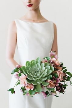 These unique succulent wedding bouquets is perfect for the modern bohemian bride, or a bride looking for a trendy twist to their traditional wedding flowers. Museum Wedding Inspiration, Contemporary Wedding Inspiration, Diy Wedding Flowers, Floral Wedding, Cactus Wedding, Bouquet Wedding, Boho Wedding, Wedding Dresses, Trendy Wedding