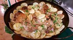 Pollo al verdeo y limón al disco con papas españolas