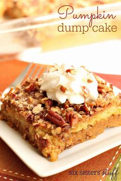 Pumpkin Dump Cake Recipe on SixSistersStuff.com | Six Sisters' Stuff