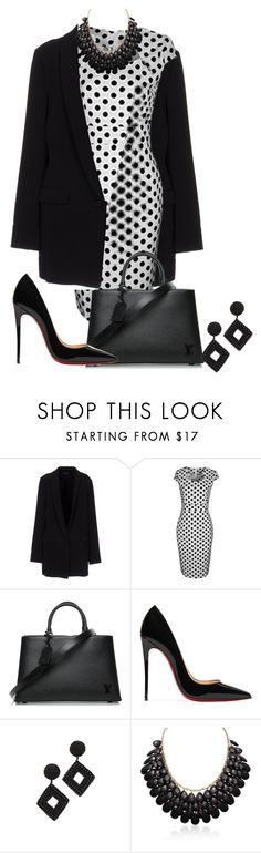 """Polka Dots in Black & White"" by shamrockclover ❤ liked on Polyvore featuring Twin-Set, WithChic, Louis Vuitton, Christian Louboutin, Kenneth Jay Lane, Adoriana, PolkaDots, dress, blackandwhite and dots"