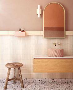 White Bathroom Tiles, Laundry In Bathroom, Master Bathroom, Boho Bathroom, Bathroom Storage, Warm Bathroom, Neutral Bathroom, Bathroom Taps, Bathroom Inspo