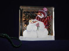 GLASS BLOCK LIGHT-Hand painted-Snowman