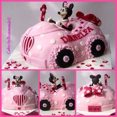 Minnie Mouse Car - Cake by Cakes by Beaumonde Mickey Mouse Clubhouse Cake, Mickey And Minnie Cake, Bolo Mickey, Minnie Mouse Cake, Cute Birthday Cakes, Minnie Birthday, Button Cake, Wedding Cake Roses, Girl Cakes