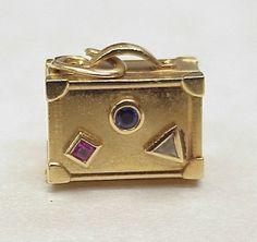 Tiffany & Co 18k Gold Jeweled SUITCASE Charm...