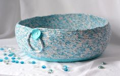 Handmade Cat Bed, Hand Coiled Pet Bed, Turquoise Fabric Basket, Modern Cat Bed, Dog Bed, Blue Turquoise Fabric Bowl by WexfordTreasures on Etsy