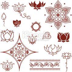 Mehndi Lotus Collection Royalty Free Stock Vector Art Illustration