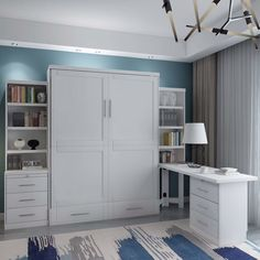 Best murphy wall bed for home office with desk and storage. White unit with customizable storage. Great for guest rooms and home office combos. Get more out of your space with a wall murphy bed. Murphy Bed Office, Murphy Bed Desk, Murphy Bed Plans, Full Murphy Bed, Office Bed, Desk Bed, Best Murphy Bed, Space Saving Furniture, Furniture For Small Spaces