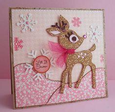 """Sweet Pink Reindeer """"Let It Snow"""" Card...Lauren: Jingle Belles.  Oct. 21, 2011."""