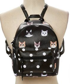 100% Quality Womens New Cute Cartoon Cat Print Backpack High Quality Pu Bright Student Shoulder Bag Black Silver Gold Luggage & Bags