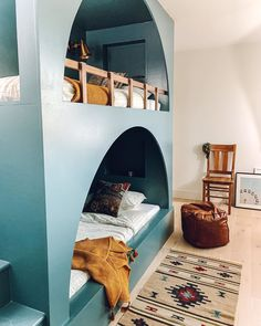 These arched bunk beds are so fun in this kids room 🤩🤩🤩 (via @rebeccaandgenevieve). Click the image to try our free home design app. (Keywords: kids room decor, kids room ideas, kids room designs, dream rooms, house design, home decor ideas, kids room rugs, kids room furniture, positive vibes, positive thoughts, boho kids room, bunk beds, childrens room, baby room ideas) Kids Room Furniture, Nursery Room, Room Baby, Kids Room Design, Dream Rooms, Kid Spaces, Girls Bedroom, Bunk Beds, Room Inspiration