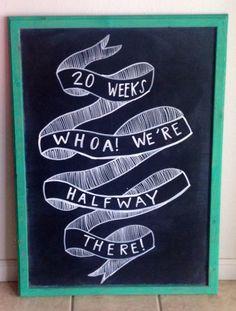 20 weeks pregnancy chalkboard