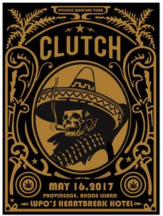Clutch Tour Posters, Band Posters, Music Posters, Heartbreak Hotel, Music Artwork, Concert Posters, Cool Logo, Silhouette Design, Painted Signs