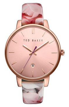 Free shipping and returns on Ted Baker London Leather Strap Watch, 40mm at Nordstrom.com. A floral printed leather strap imbues a classic round watch with a touch of Ted Baker London's trademark whimsy.