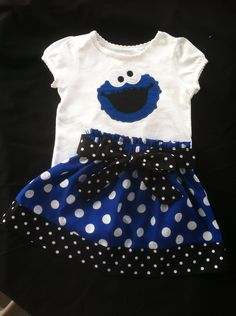Sesame Street's Cookie Monster Skirt and shirt set (shirt available in short sleeve only). $38.00, via Etsy.