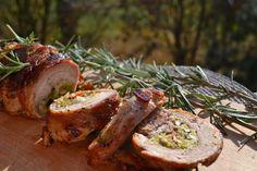 Zöldségágyon sült töltött pulykacomb - Keva Blog Baked Potato, Bacon, Pork, Potatoes, Ethnic Recipes, Easter, Hungarian Recipes, Kale Stir Fry, Potato