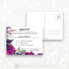 Printable RSVP Card Instant Download Lilac & Purple by AmeliyCom
