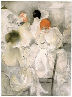 'Before the Performance' (c.1928) by German-born French artist Jeanne Mammen (1890-1976)