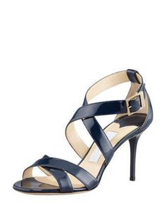 Louise Crisscross Patent Leather Sandal, Navy by Jimmy Choo at Neiman Marcus.