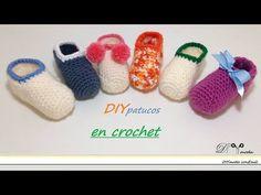 Cómo tejer zapatitos o patucos de bebé en crochet - YouTube