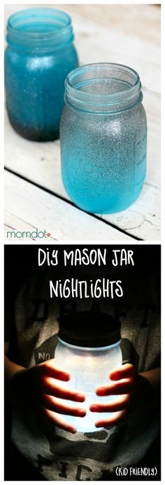 Mason Jar Night light DIY, How to seaglass your mason jar and then turn it into a night light (nope, not a candle OR paint!) that glows all night long - totally awesome, you are going to want to make TONS of these for a mason jar wedding, childs room, or