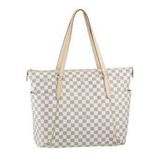 Louis Vuitton Damier Azur Canvas Totally GM White N51263   Featuring a chic and timeless design,the Totally Damier Azur GM city tote is spacious and practical with its functional side pockets.  Damier canvas,textile lining and natural cowhide trimmings; Golden brass pieces; Wide zipper closure; Three inside flat pockets; Shoulder-carry with comfortable flat straps.  18.5 x 13.4 x 8.3