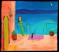 Mexican Folk Art Paintings-Original Artwork Direct From The Artist-RoMy-Terlingua Art Studio: NR! Stars Moon Cat Patio MeXiCaN FoLk ArT RoMy Painting