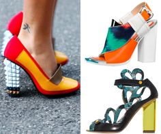 Statement Shoes MADCAP MOMENTS Chunky-heeled shoes in bold colors and mixed materials are the trophy pieces right now. Go for a wild-style pair like Nicholas Kirkwood's rococo snakeskin-and-Lucite sandal or Fendi's futuristic loafer