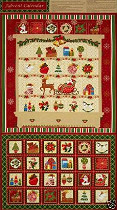 Season/'s Greetings Christmas Card Cotton Quilting Fabric Panel 60cm x 110cm