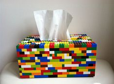 LEGO is for everyone. Whether you're or every time you see LEGO, your imagination will run wild. People love LEGO and they will never run out of ways to do inspirational and Tissue Box Covers, Tissue Boxes, Tissue Box Crafts, Legos, Deco Lego, Lego Bathroom, Boy Bathroom, School Bathroom, Bathroom Accents