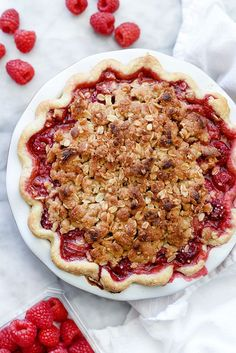 Instead of traditional pie crust, this pie has a brown sugar oatmeal crumble that melts the hearts of pie and crumble lovers alike.