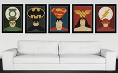 These minimalist superhero vintage retro movie posters are all you need to decorate your living room walls.