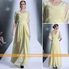 Dorisqueen Cap sleeves 2013 New Arrival Yellow Evening dresses with rhinestones and pleat for girls