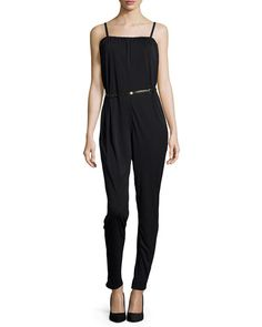 Sleeveless Belted Jumpsuit, Black