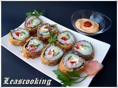If you've never had fried Sushi you have to try this recipe from - Lea's Cooking: How to Make Fried Sushi