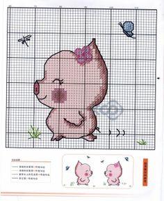 . Baby Cross Stitch Patterns, Cross Stitch Charts, Mini Cross Stitch, Cross Stitch Animals, Stitch Cartoon, Animal Crackers, Cross Stitching, Blackwork, Peppa Pig