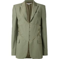 Stella McCartney corset waist blazer (24420 MAD) ❤ liked on Polyvore featuring outerwear, jackets, blazers, green, fitted blazers, peak lapel blazer, stella mccartney blazer, fitted jacket and tailored blazer